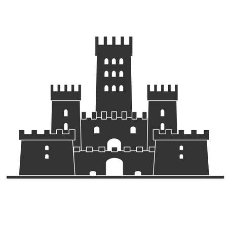 Medieval castle icon vector . Castle tower silhouette in a flat style. Illustration