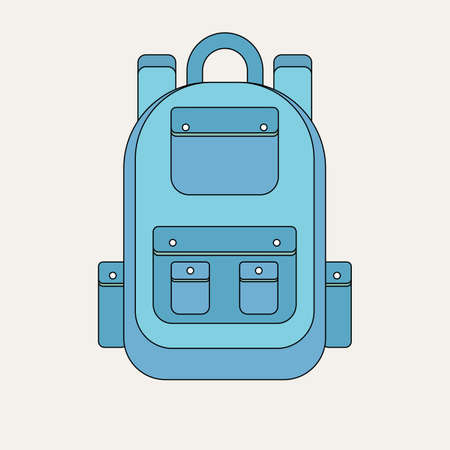 School backpack in a flat style. Kids backpack on a white background.  イラスト・ベクター素材
