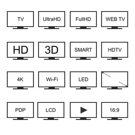 TV icons set.