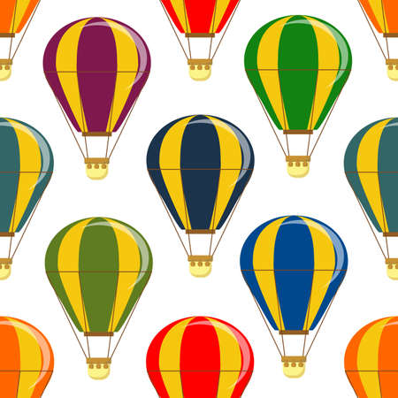 Different colorful air balloons seamless pattern