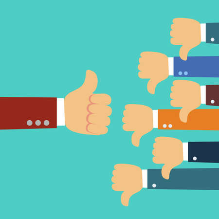 one hand of businessman leader boss or customer thumb up to their project,but many hands of team disagree the opinion or feedback - team work concept illustration
