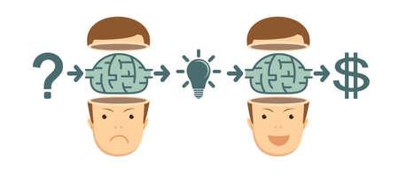 Transform idea intro business concept vector illustration
