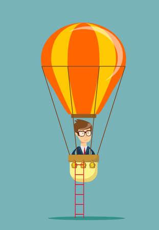 Man man in air balloon.