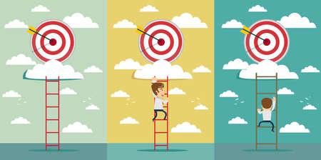 Hitting bigger business target concept vector illustration set