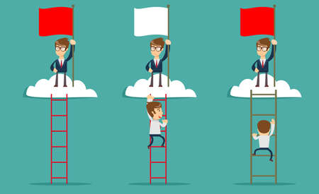 A man on the top of the cloud holding the red flag for  Leadership concept. 일러스트