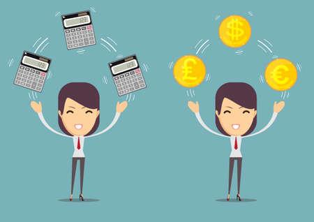 A financial adviser - Bookkeeping services and management. Profit, finances concept. Illustration