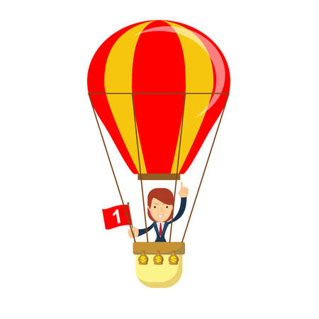 Business woman in a hot air balloon vector illustration