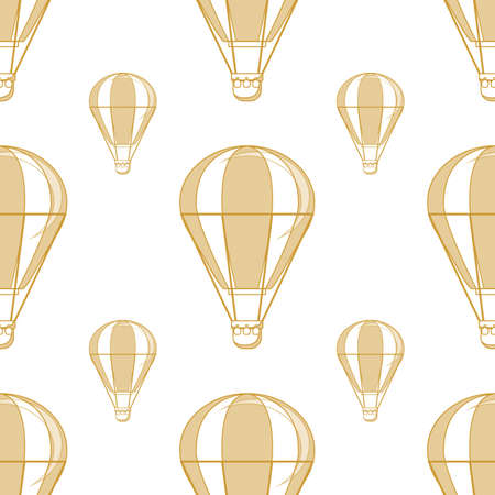 Hot air balloon seamless pattern on a white background.  イラスト・ベクター素材