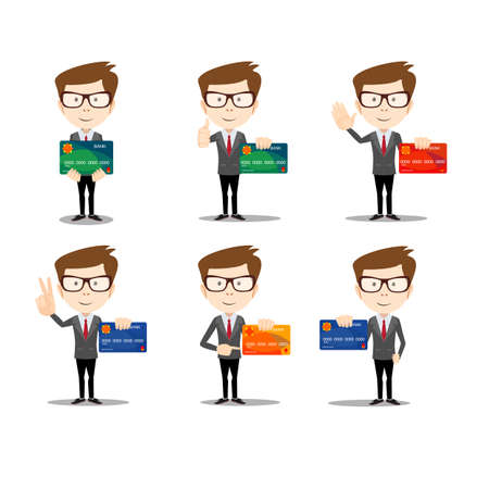 Businessman in different poses with a plastic credit card