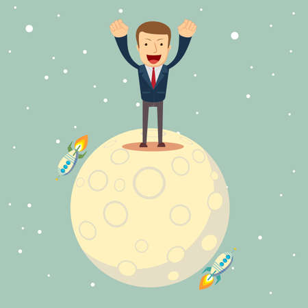 a man in a business suit conquered the moon Illustration