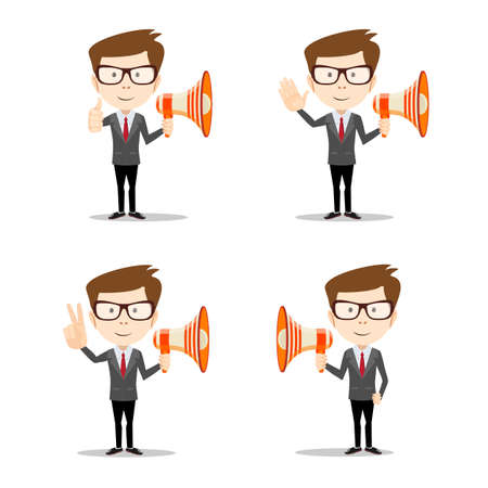 Set of Businessman in different poses with a megaphone . Full length, front view against white background. Stock flat vector illustration. Illustration