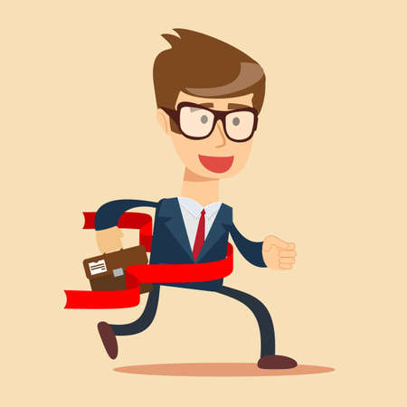 Concept of successful businessman in a finishing line.