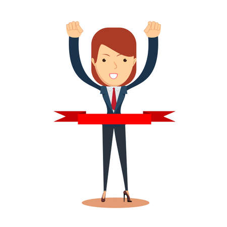 Concept of successful businesswoman in a finishing line. Businessman victory run toward red ribbon tape finish. Concept business illustration.
