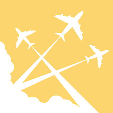 Silhouettes planes in sky. illustration. Traces of the plane  イラスト・ベクター素材