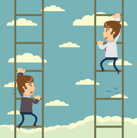 Up the career ladder . Staircase Rests Against Blue Sky. Development motivation Career Growth Concept. Stock flat vector illustration.