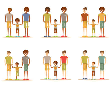 Happy male couple with foster son, Adoption concept Illustration.