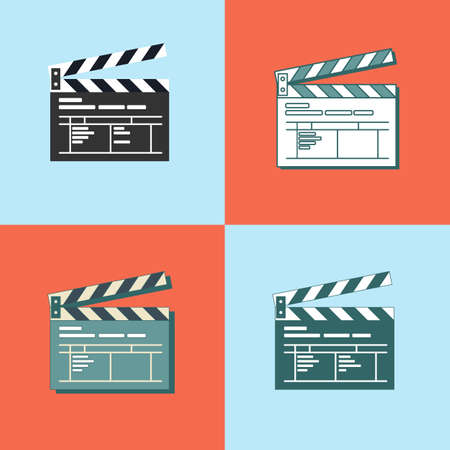 Set of Simple clapper board icon in flat style. The concept of symbol video files. The open movie clapper board isolated from the background.