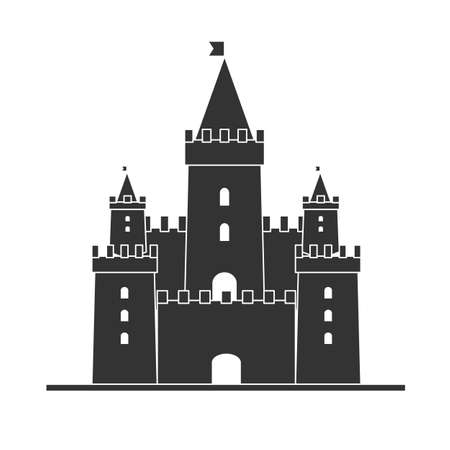 Medieval castle icon vector. Castle tower silhouette in a flat style. Knights, royal, princess castle sign.