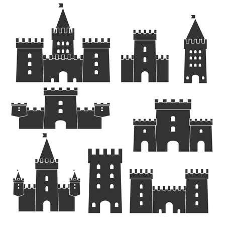 Medieval castle icon vector set in monochrome illustration.
