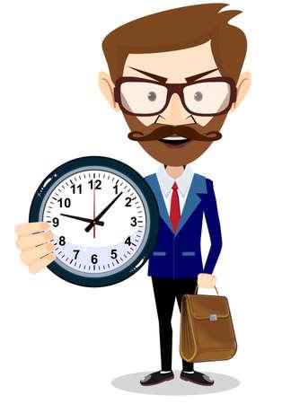 Heureux homme d'affaires détenant une grande horloge. Concept de gestion du temps.