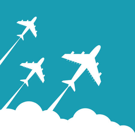 Plane fly on blue cloud sky background with blank area for your text
