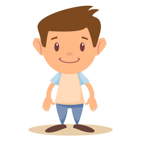Cartoon cute boy stands in a confident pose. Colorful vector illustration.