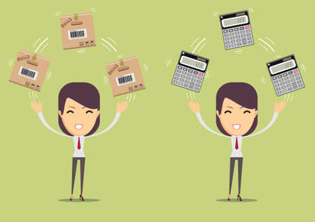 Woman holding carton box with calculator. Illustration