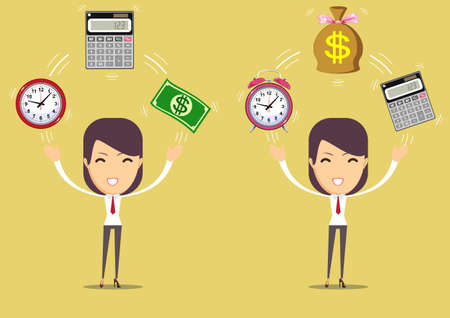 Accountant at work.Time is money concept. Illustration