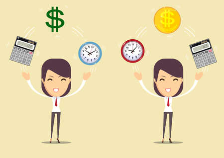 Office clock ,calculator and Money. Time is money concept. Vector Illustration. Illustration