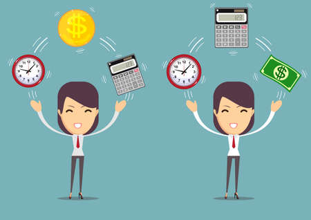 Bookkeeper at work.Time is money concept. Illustration