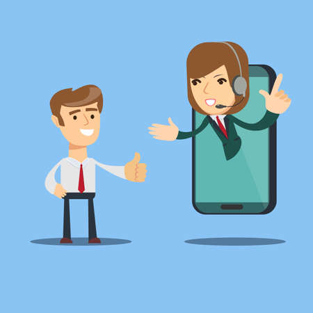 Happy businessman give thumb up to call center operator on screen of smart phone