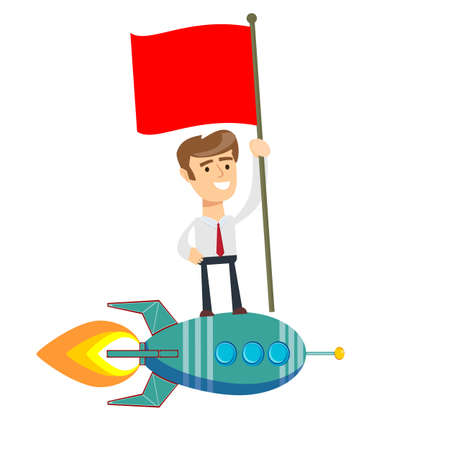 Happy businessman holding flag and standing on rocket ship flying through sky.