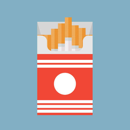 Open cigarettes pack box flat style vector illustration isolated on a background,