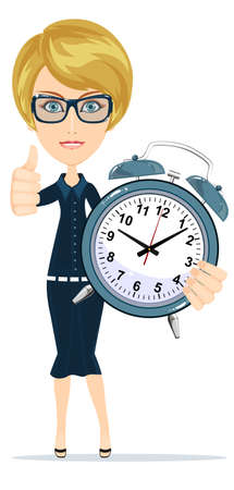 Smiling cartoon businesswoman with alarm clocks, symbolizing time management. Stock Illustratie