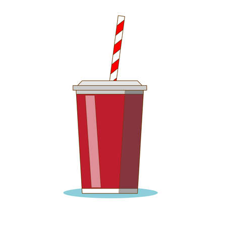 Disposable cups for beverages with straw . Stock flat vector illustration. Ilustração