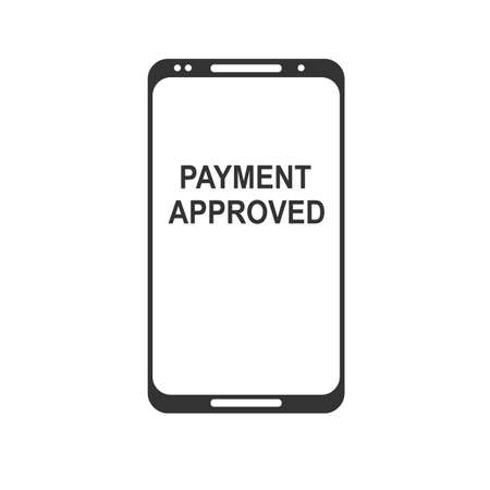 Mobile payment. NFC smart phone concept flat icon. black image on white background. Stock flat vector illustration.
