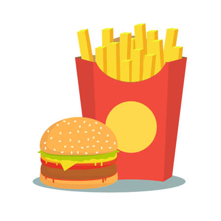 black and white French fries with burger. Stock flat vector illustration.