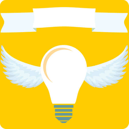 flying light bulb. Stock flat vector illustration. Illustration