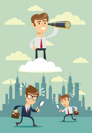 homme d'affaires prospère avec télescope sur le nuage au-dessus des autres. Concept de vision d'entreprise. Illustration vectorielle plane stock.