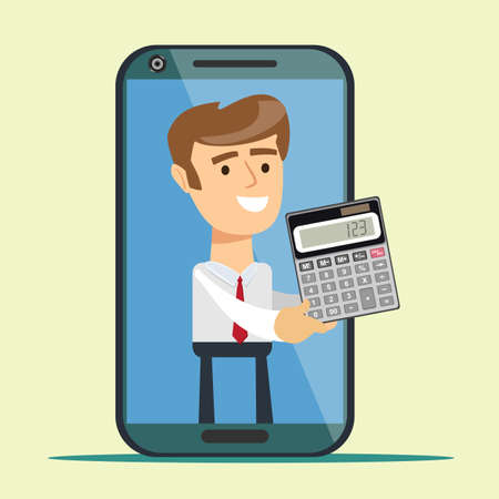 Man from smartphone screen giving calculator. accounting online service concept. Online payment with smartphone. Business, finance. Vector illustration flat design. Tax inspector or banker .