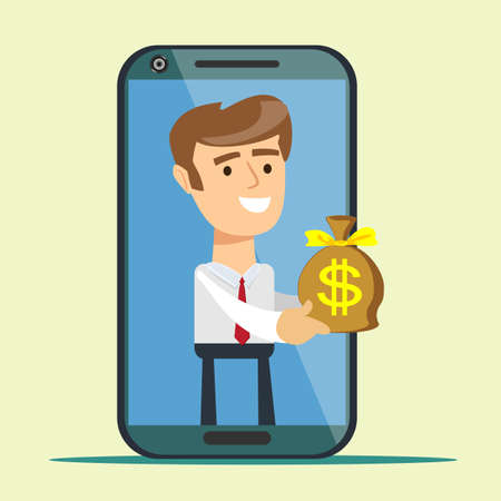 Young man from smartphone screen giving money bag, 일러스트