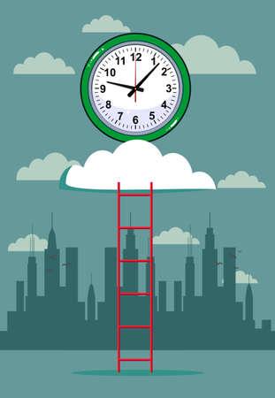 cloud and clock with ladder background. Stock flat vector illustration. Ilustração Vetorial