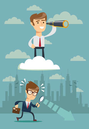 successful businessman with telescope on cloud above others . Business Vision Concept. Stock flat vector illustration.