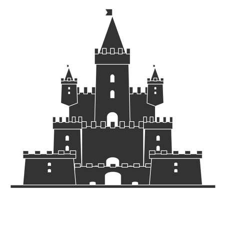 Château médiéval. Icône simple. Illustration vectorielle plane stock