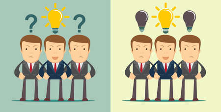 Leadership concept with crowd of businesspeople with question marks and idea in the open heads. Stock flat vector illustration.