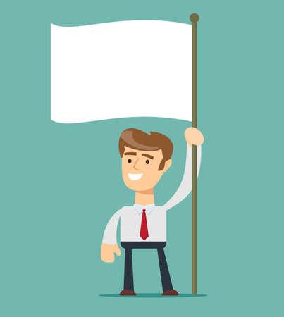 Businessman holds white flag. Hand holding blank flag. Flat style vector illustration.