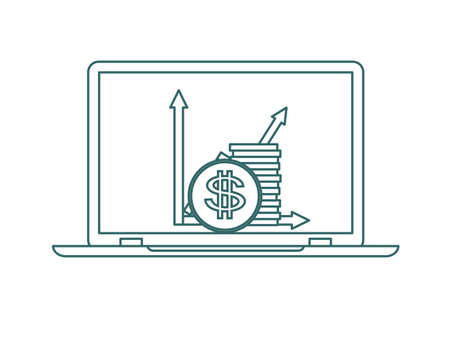 Symbol of growing chart with coins. Stock flat vector illustration.