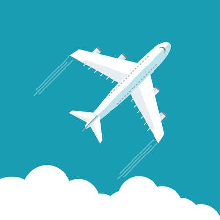 Plane fly on blue cloud sky background with blank area for your text. Stock flat vector illustration. Ilustrace