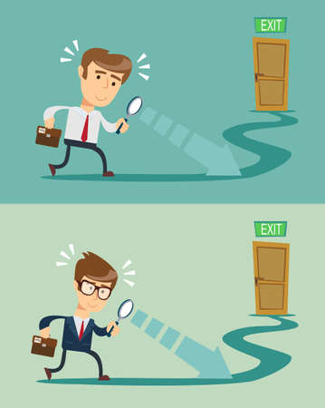Solution to problem business concept. Man looks at open opportunities. Vector illustration flat design. Illustration
