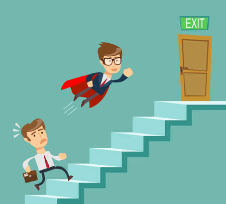 Super businessman in red cape flying pass another businessman climbing stairs. Business competition concept. Stock flat vector illustration. Ilustrace